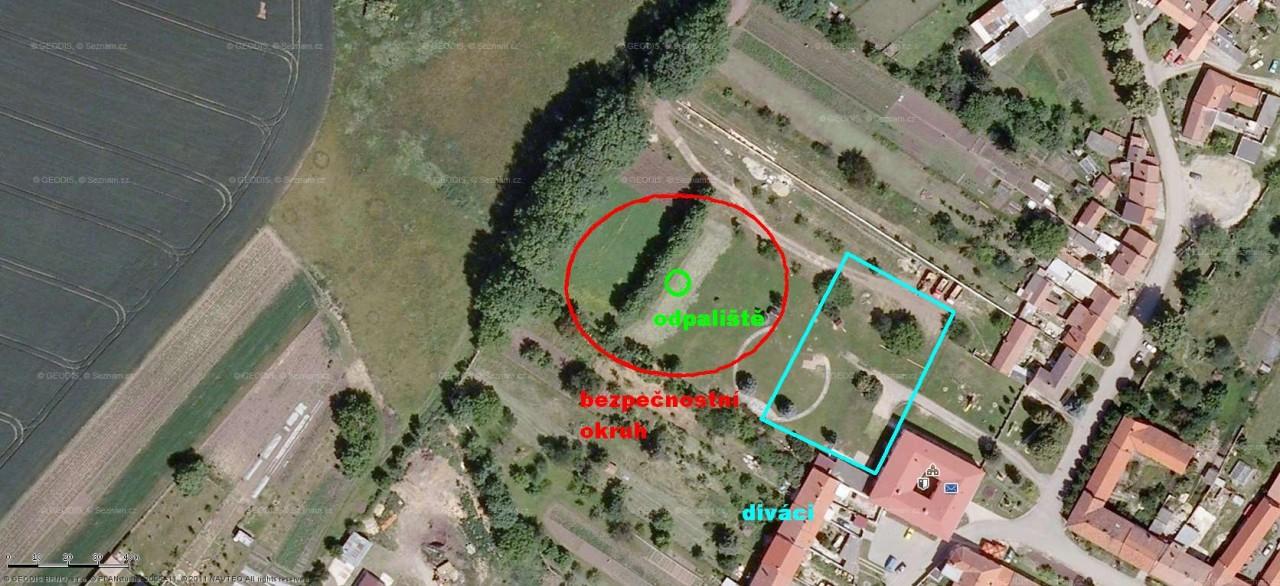 Schéma umístění bezpečnostního okruhu, odpaliště a diváků